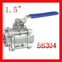 New arrival 1.5 CF8 SS304 stainless steel BSP 1000WOG ball valve 3pc Body Full Port for water,oil and gas