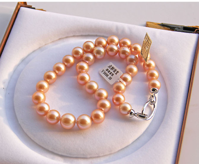 gorgeous 12-13mm south sea round gold pink pearl necklace+box18inch 925s>Selling jewerly free shippinggorgeous 12-13mm south sea round gold pink pearl necklace+box18inch 925s>Selling jewerly free shipping