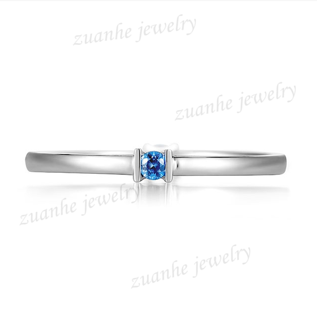 Solid 14k White Gold Natural Blue Sapphire 2mm Round Women Wedding Ring BandSolid 14k White Gold Natural Blue Sapphire 2mm Round Women Wedding Ring Band