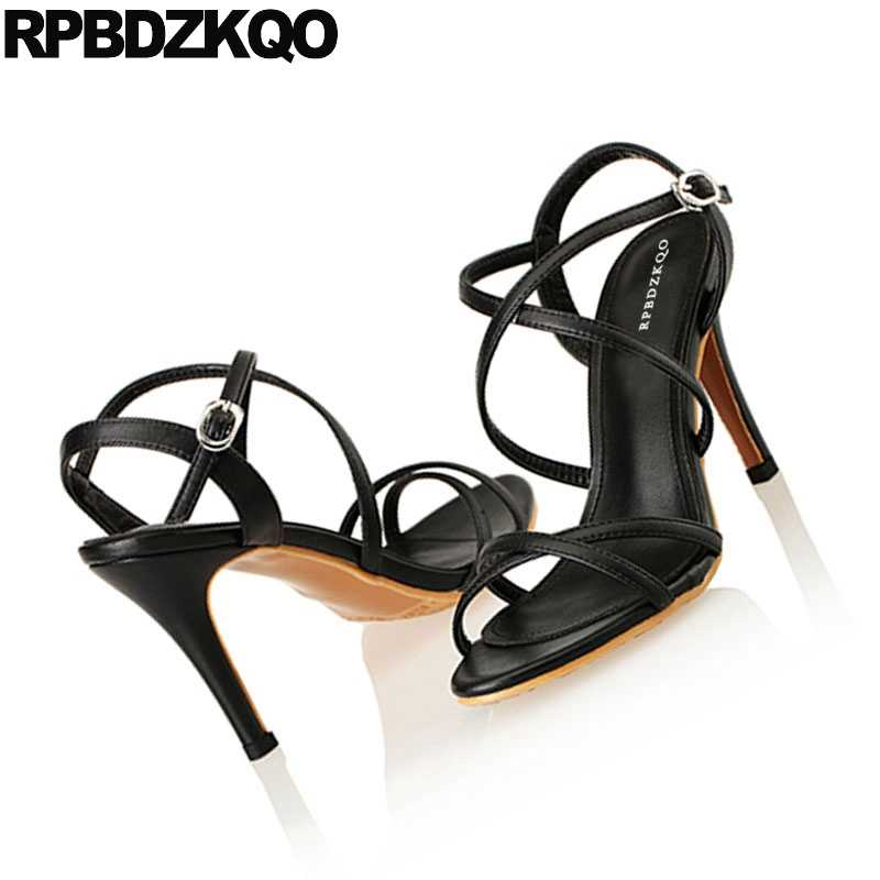 ... Designer Strap Women Sandals Black Elegant Summer Open Toe Heels High  Sexy Slingback Stiletto Strappy Ladies 7ed5e2d6194c