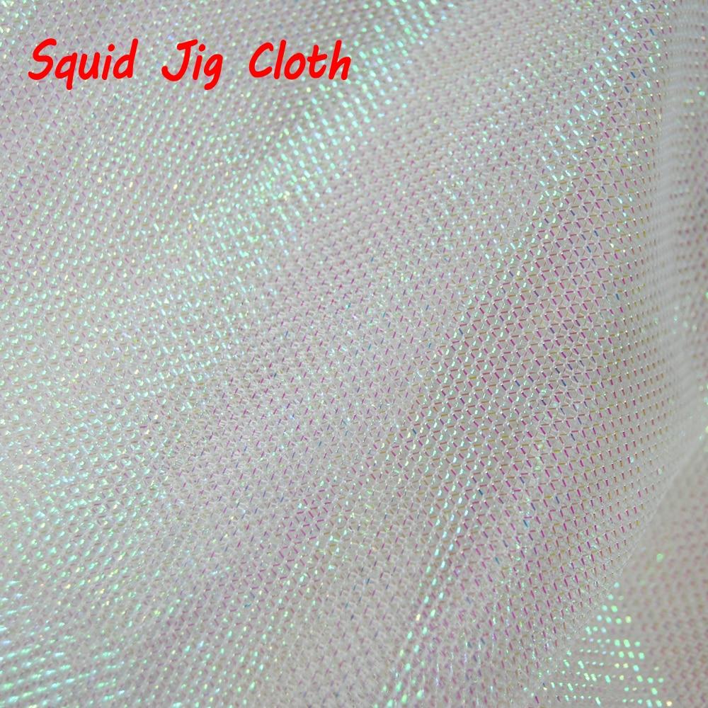 1 Yard Pearl White Flash Gold Green Purple Red Black Silver Squid Jig Cloth Fishing Octopus Squid Hook DIY Material