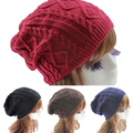 Lady Women's Knit Winter Warm Crochet Hat Braided Baggy Beret Beanie Caphot