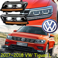 Car Styling Tiguan Headlight 2017 2018 Free Ship Chrome Tiguan Fog Light Chrome LED Phaeton Touareg