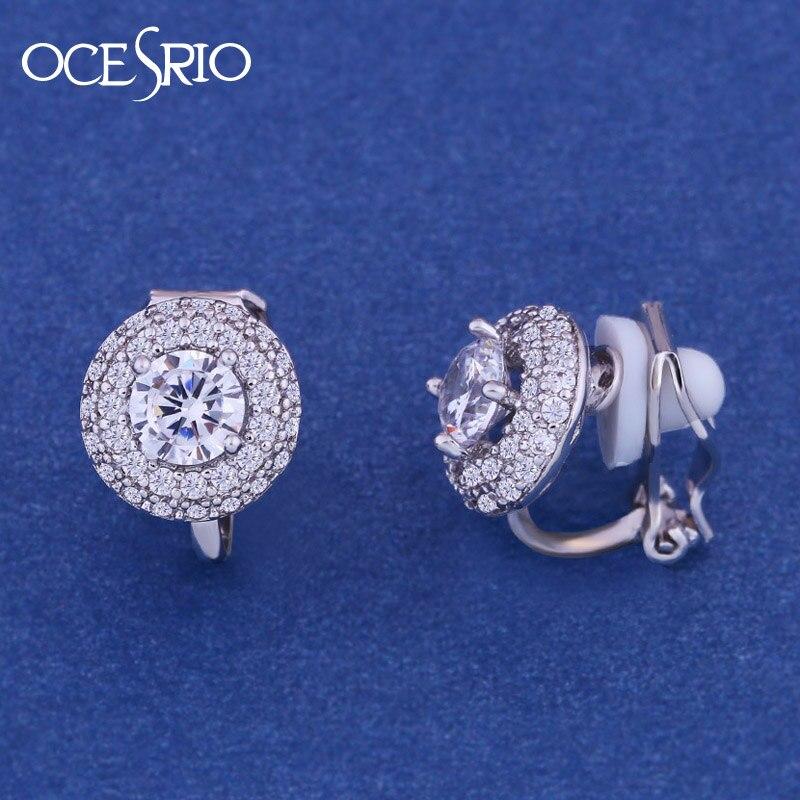OCESRIO Fashion Jewllery Silver round Zircon Clip Earrings Without Piercing Puncture Earrings For Women Wedding Jewelry ers-k48