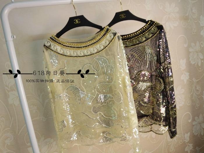 Blusa vente limitée hauts licorne 2017 industrie lourde broderie perles Perspective Sexy Net fil paillettes A tête col chemise