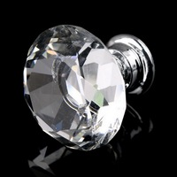1pack 10Pcs Crystal Glass 30mm Diamond Shape Knob Cupboard Drawer Pull Handle Brand New