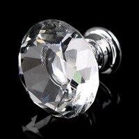 1pack 10Pcs Crystal Glass 30mm Diamond Shape Knob Cupboard Drawer Pull Handle Brand New