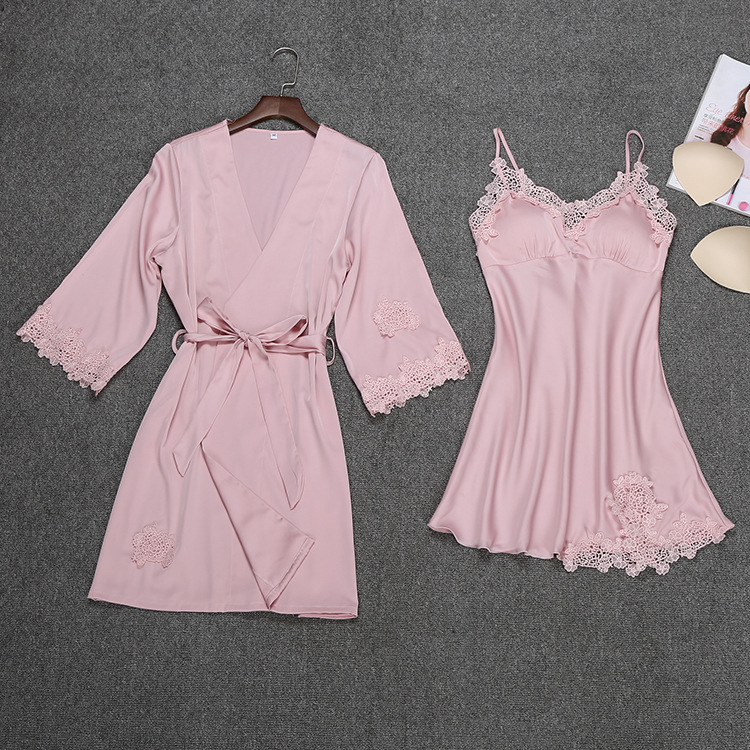 Image 5 - Summer Night Robe Sexy Women 2PC Strap Top Suit Sleepwear Sets Casual Pajamas Home Wear Nightwear Sleep Kimono Bath Gown-in Robe & Gown Sets from Underwear & Sleepwears