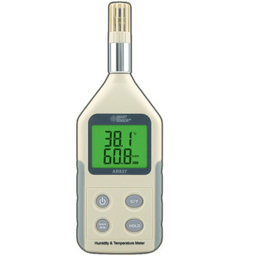 Handheld Humidity Temperature Meter AR837 Digital Hygrometer Thermometer Tester flus et 951 handheld digital humidity tester temperature meter monitor lcd display multifunction hygrometer thermometer