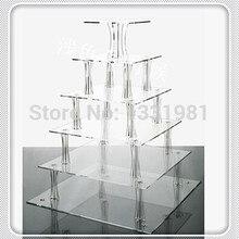 Горячая /Высокое качество 6 ярусов акриловые квадратные подставки для торта для свадьбы плексиглас кекс стенд
