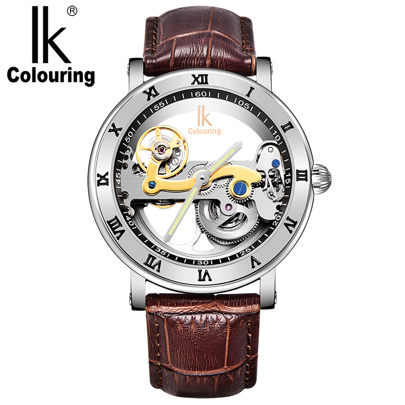 2017 IK Retro Luxury Mens Watches Men's Skeleton Auto Mechanical Waterproof Genuine Leather Wristwatch Original Box Free Ship ik colouring new design retro hollow golden auto self windmechanical luxury watch men skeleton wristwatch original box for gift