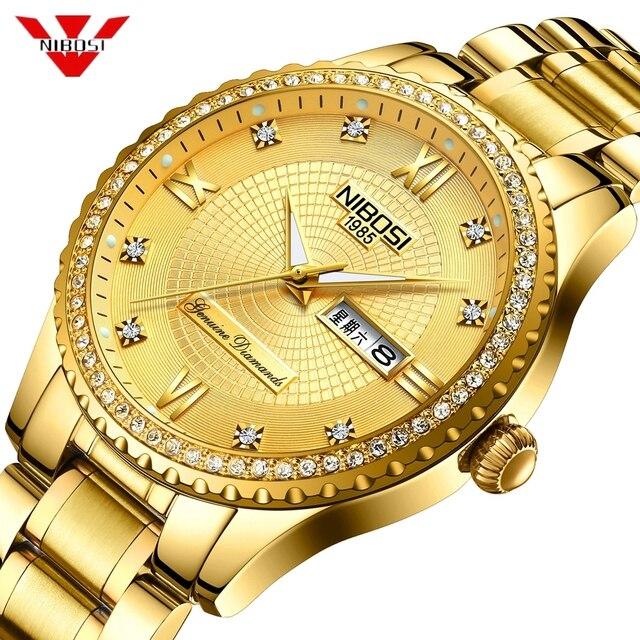 64e2621568f NIBOSI Mens Relógios Top Marca De Luxo Para Homens Quadrado Relógio de Ouro  À Prova D