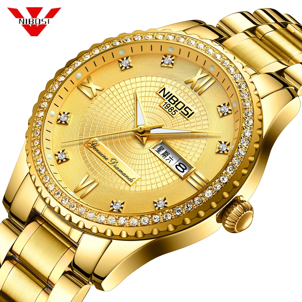 NIBOSI Mens Watches Top Luxury Brand For Men Square Waterproof Gold Watch Quartz Sport Watches Stainless Steel Clock Saat