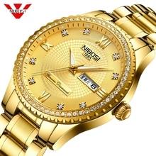 NIBOSI erkek saatler Top lüks marka erkekler için kare su geçirmez altın İzle kuvars spor saatler paslanmaz çelik Saat Saat