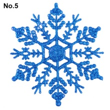 6pcs Snowflakes Christmas 10cm Plastic Glitter Snow Flake Ornaments Christmas Tree Pendant Christmas Decorations for Home 6A0070