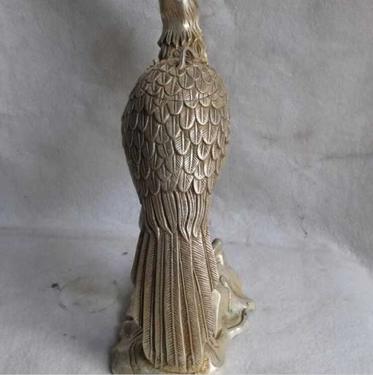 Wby 816 + + 12中国民芸ホワイト銅銀動物ポーリングオウムオウム鳥像