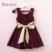 Hurave 2017 new cute girls v neck  dress kids bow with belt clothes children vestidos cute girl clothing