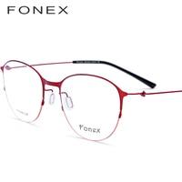 FONEX Titanium Alloy Glasses Frame Men Round Prescription Eyeglasses Women Myopia Optical Frame Korean Screwless Eyewear 9862