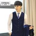 ( Jacket + colete + calça ) 2016 venda quente dos homens de negócios ternos casuais, De três peças, Profissional traje vestido de noiva - 1 fivela