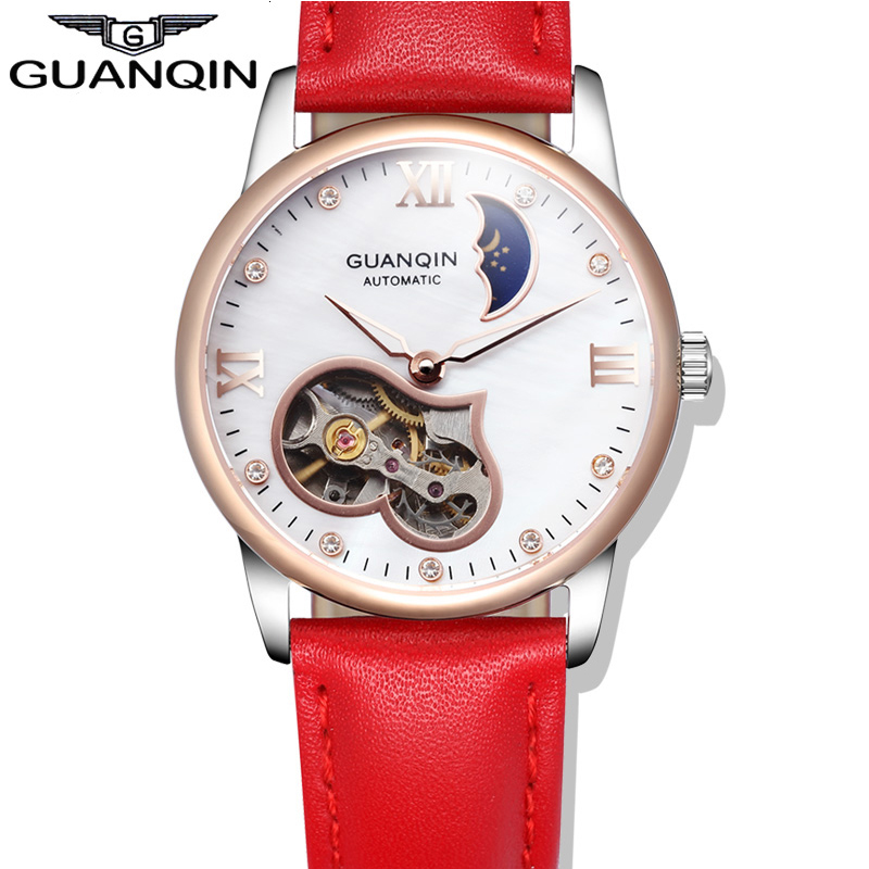 Watches women Luxury Brand GUANQIN Genuine Leather Strap Waterproof Mechanical Wrist Watch for Ladies relogio feminino 2017 time100 women watch luxury brand simulated ceramics strap waterproof ladies wrist watches for women relogio feminino