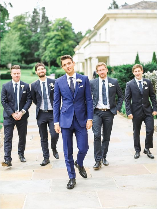 Blue Dark Gray Groomsmen Tuxedos Groom Wear 2 Pieces Mens Wedding ...