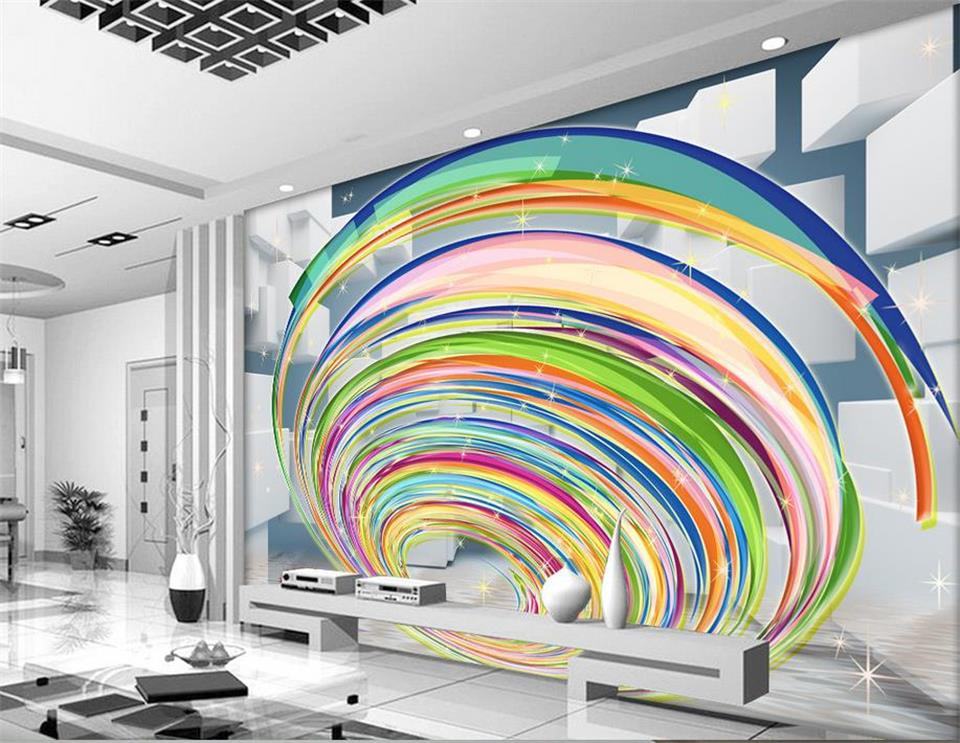3d photo wallpaper custom mural living room non-woven rainbow swirl grid painting picture 3d wall murals wallpaper for walls 3d custom photo 3d wallpaper mural non woven the wolf in the night background wall painting living room wallpaper for walls 3d