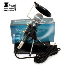 Interruptor profesional Micrófono Dinámico Con Cable Soporte De Sobremesa Con Parabrisas Cubierta de Filtro Para BETA 58A 58 PC Karaoke Mic Micrófono