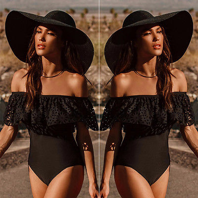 Sexy Women Swimwear One Piece Swimsuit Monokini Push Up Padded Bikini Bathing 2017 New Arrive Shoulder Lace Beachwear Black