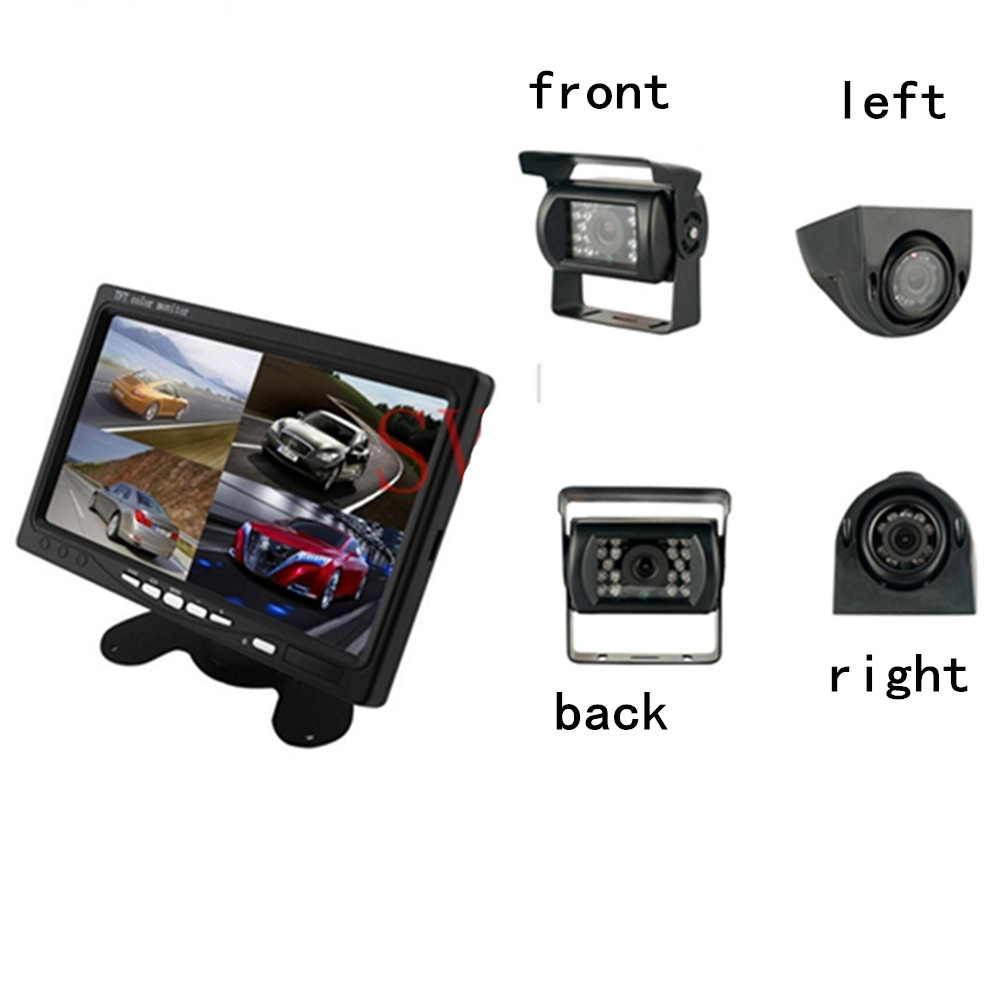 New Arrival 4 Split Display 7 inch Car Backview Monitor Wired 4 way Split Monitor +2 Front/Rear Bus Camera +2 Rignt/Left Camera buttoned split front skirt