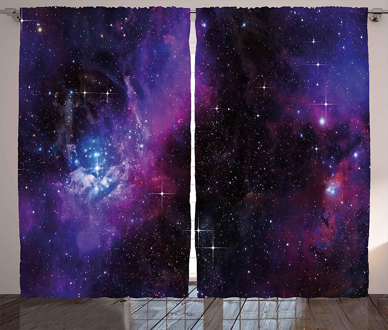 Space Curtains Decor Nebula Dark Galaxy With Luminous Stars And Cosmic Rays Astronomy Explore Theme Living Room Bedroom Window