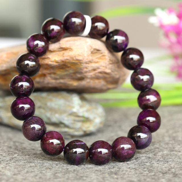 Wholesale Genuine Natural Dark Purple Sugilite Stretch Finish Bracelet Round beads 11mm 03779