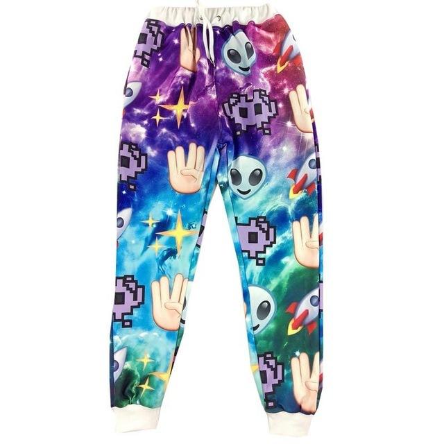 Novos homens Da Moda harem pants mens calças sweatpants emoji impressão dedos espaço estrelas 3d