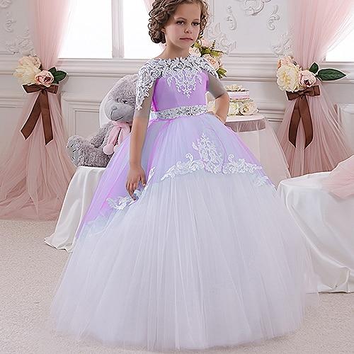 Champaña elegante vestido de la muchacha de la flor con la cinta Beige arco Crew Neck vestidos de la bola de malla niños vestidos de comunión para la Navidad 2 14