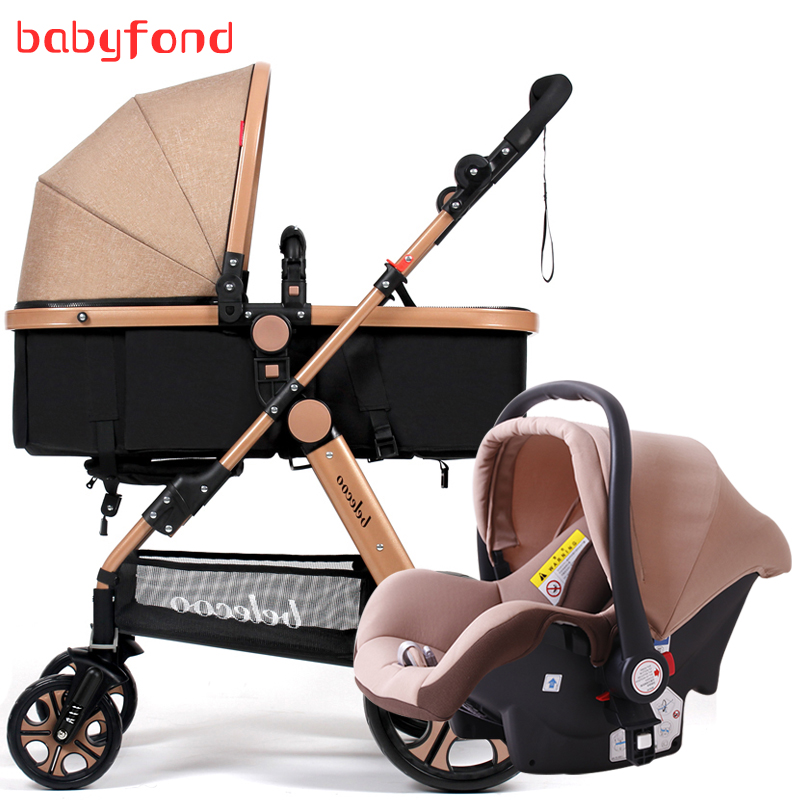 Belecoo 3 in 1 stroller High Landscape with car set Folding Two-way push Baby carriage ...