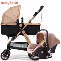 Belecoo 3 в 1 коляска прогулочная с автомобильным комплектом складной двухсторонний пуш ап детская коляска
