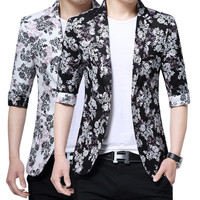 Mens korean slim blazer elegant summer jacket blazer for men floral print tops men's three quarter sleeve coats black white