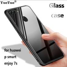 YUETUO ТПУ закаленное стекло зеркало мобильный телефон назад etui, coque, чехол, чехол для huawei p smart 2018 Наслаждайтесь S 7 s черный интимные аксессуары