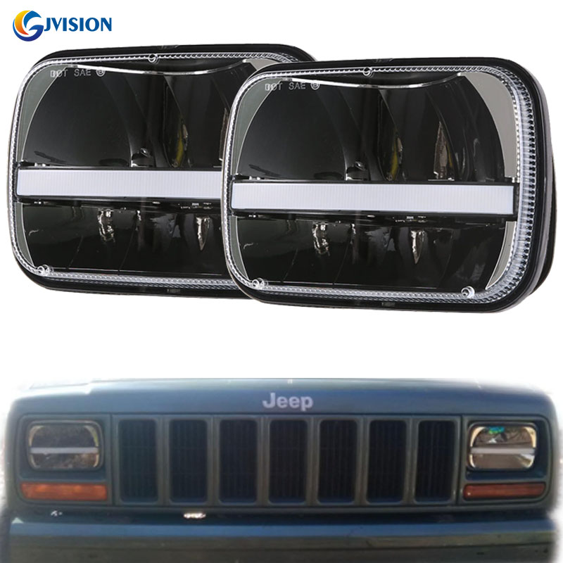 5X7 inch H4 High/Low beam DRL Turn signal 7x6 inch Rectangular LED Headlight for Jeep Wrangler YJ Cherokee XJ Trucks
