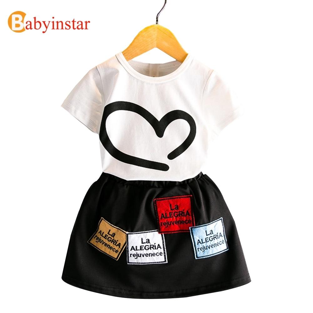 Babyinstar Letní dětské sady Cute Heart Pattern tričko + - Dětské oblečení