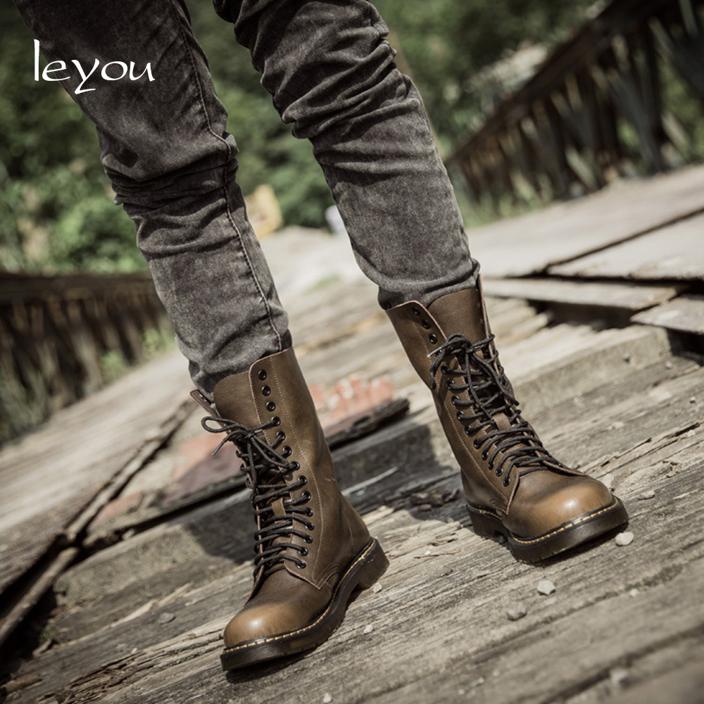 Vintage Military Boots Men High Genuine Leather Riding Boots Motorcycle Shoes