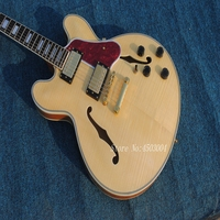 High quality hand made hollow body electric jazz guitar,natural color Free shipping,Real photo shows .Factory direct sale