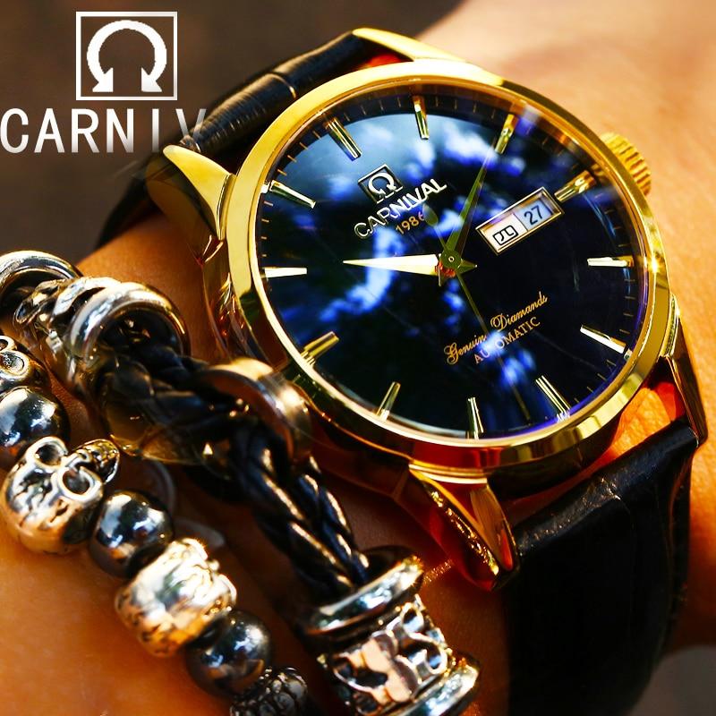 цена на Switzerland Carnival Top Brand Luxury Men Watches Automatic Self-Wind Watch Men Sapphire reloj hombre relogio clock C8646G-5