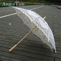 Hot Unique Design 100%Cotton Handmade Battenburg Lace Umbrella Vintage Women Parasol For Wedding Bride Umbrella
