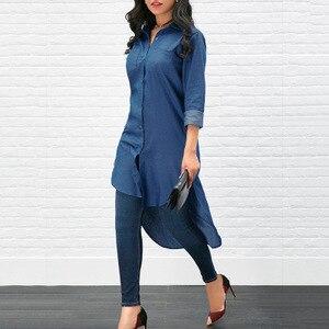 Image 3 - T shirt Ön Kısa Mavi Uzun Kollu Bluz Müslüman Moda Kadın Elbise Abaya Artı boyutu Moda Hırka Kimono