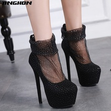 hot deal buy tinghon spring lace heels boots 16cm high heels shoes pumps women heels party wedding shoes women platform pumps office shoes