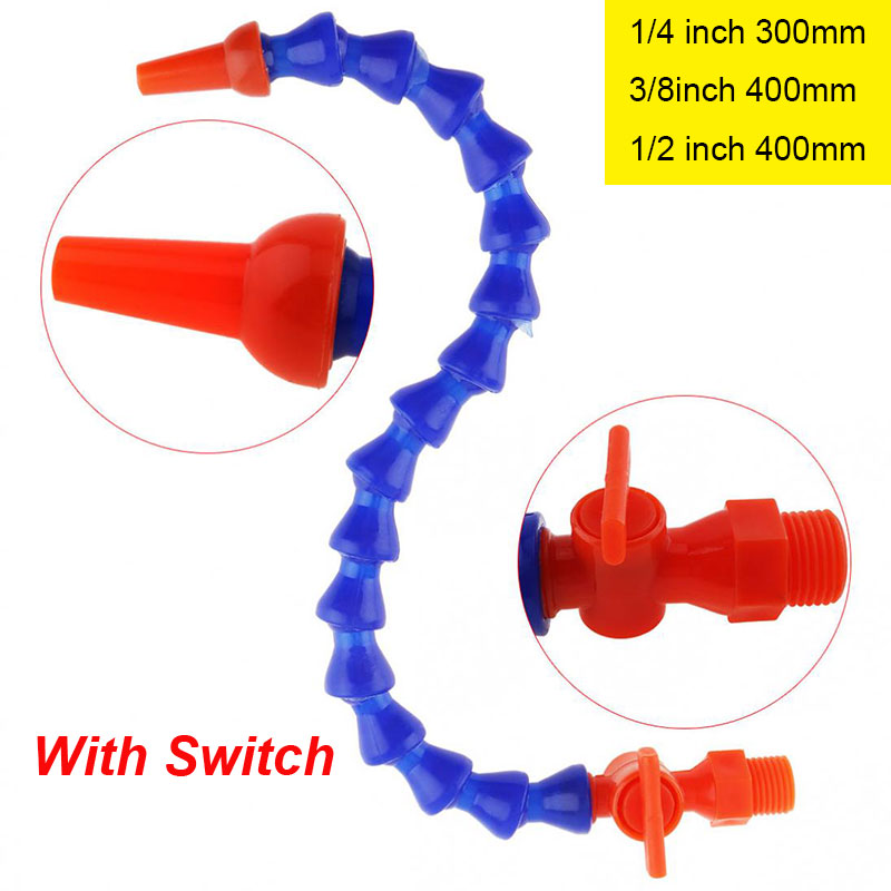 TORO 1/4 300mm 3/8 1/2 Inch 400mm Round Nozzle Plastic Flexible Water Oil Cooling Tube With Switch For CNC Machine / Milling