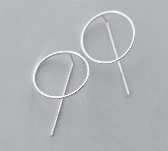 Esagerato della signora nuovo 1 Coppia REALE. 925 Sterling Silver Jewelry Circle & Bar Geometrica Lunga Ciondolano Gli Orecchini di Goccia GTLE1476