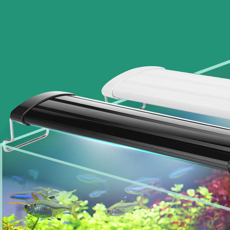 Acuario Iluminación LED 21-45 cm alta calidad de Fish Tank Light lámpara con extensible Estantes blancos y azules cabe para acuario