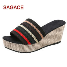 SAGACE Shoes Women Slippers Casual Wedge Summer Slip-On High Heel Platform Peep Toe Shoes Flip Flop Buty Damskie(China)