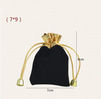 High Quality Wholesale 50pcs Lot 7x9cm Red And Black Velvet Bags Drawstring Pouches Jewelry Bags Gift